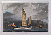 CHINESE VESSELS. colour print from the book ' A Picturesque Voyage to India by Way of China  ' by Thomas Daniell, R.A. and William Daniell, A.R.A. London : Printed for Longman, Hurst, Rees, and Orme, and William Daniell by Thomas Davison, 1810. The Daniells' original watercolors for the scenes depicted herein are now at the Yale Center for British Art, Department of Rare Books and Manuscripts,