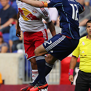 Tim Cahill, New York Red Bull (left) and Logan Pause, Chicago Fire, challenge for a header during the New York Red Bulls V Chicago Fire Major League Soccer regular season match at Red Bull Arena, Harrison. New Jersey. USA. 6th October 2012. Photo Tim Clayton