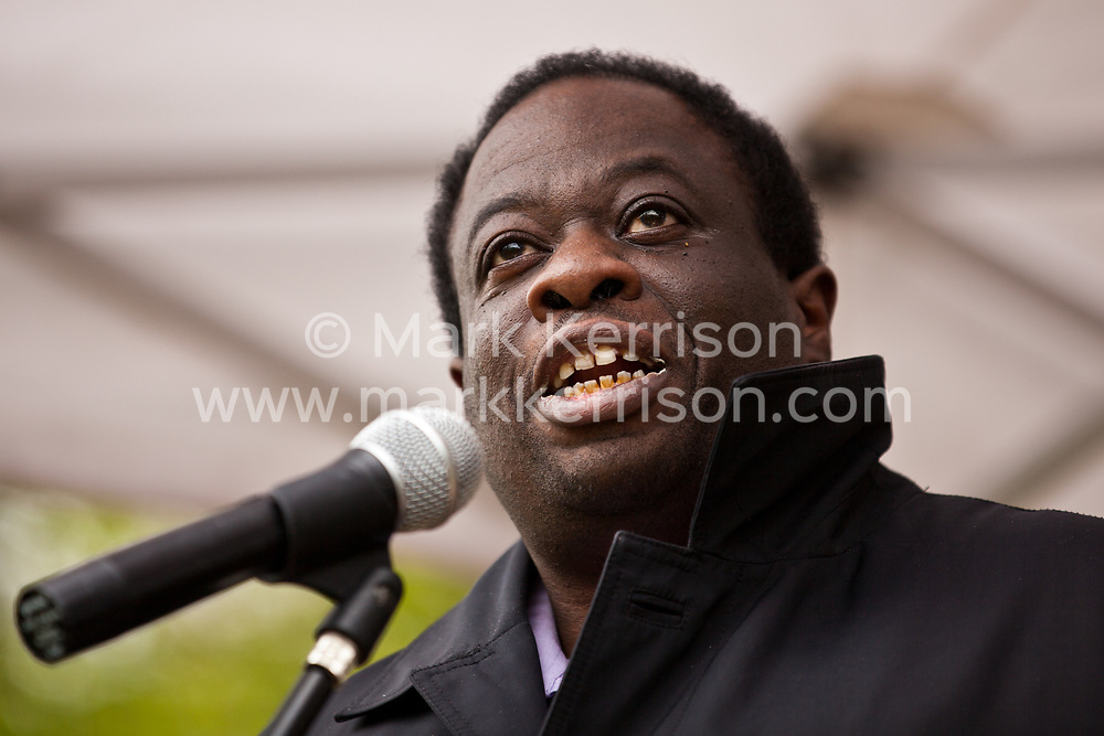 Luton, UK. 5th May, 2012. Weyman Bennett, Joint Secretary of Unite Against Fascism, addresses the We Are Luton/Stop The EDL rally, organised by We Are Luton and Unite Against Fascism in protest against a march by the far-right English Defence League.