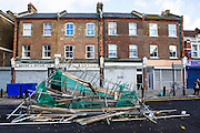 Scaffolding brought down by high winds on Manor road in Stoke Newington, London. The sever storm called St Jude is the worst to hit the Uk for years, it has caused sever damage to parts of the country with winds of up to 90mph.