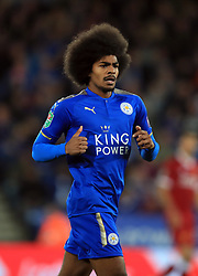 """Leicester City's Hamza Choudhury during the Carabao Cup, third round match at the King Power Stadium, Leicester. PRESS ASSOCIATION Photo. Picture date: Tuesday September 19, 2017. See PA story SOCCER Leicester. Photo credit should read: Mike Egerton/PA Wire. RESTRICTIONS: EDITORIAL USE ONLY No use with unauthorised audio, video, data, fixture lists, club/league logos or """"live"""" services. Online in-match use limited to 75 images, no video emulation. No use in betting, games or single club/league/player publications."""
