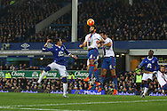 Mile Jedinak of Crystal Palace heads the ball clear of danger. Barclays Premier league match, Everton v Crystal Palace at Goodison Park in Liverpool, Merseyside on Monday 7th December 2015.<br /> pic by Chris Stading, Andrew Orchard sports photography.
