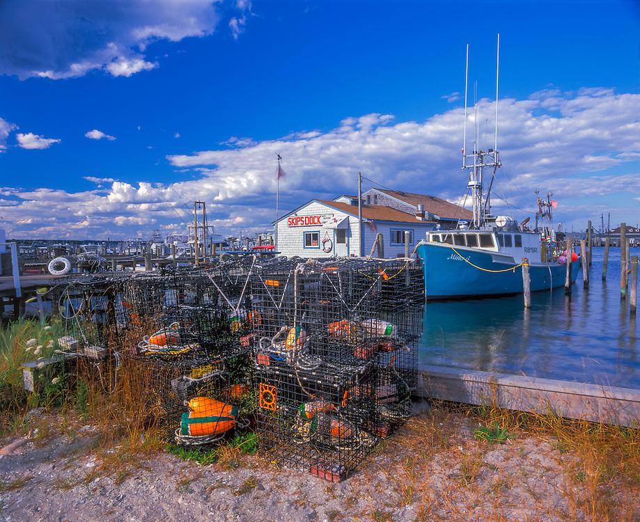 Skips Dock & boat moored, lobster pots, Jerusalem, RI