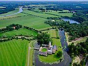 Nederland, Overijssel, Gemeente Dalfsen, 21–06-2020; Kasteel Rechteren op eiland in een dode rivierarm van deOverijsselse Vecht. Onderdeel Landgoed Rechteren, eigendom gelijknamige familie.<br /> Rechteren Castle on an island in a dead river arm of the Overijsselse Vecht, family property.<br /> <br /> luchtfoto (toeslag op standaard tarieven);<br /> aerial photo (additional fee required)<br /> copyright © 2020 foto/photo Siebe Swart