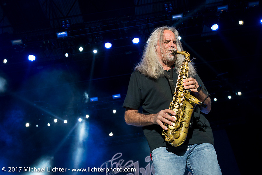 The Doobie Brothers saxophonist Marc Russo playing with the band at the Buffalo Chip on Monday during the annual Sturgis Black Hills Motorcycle Rally. Sturgis, SD, USA. August 7, 2017. Photography ©2017 Michael Lichter.