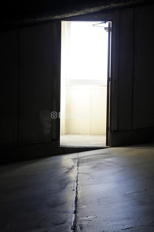 door with strong light coming from outside