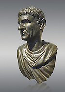 """Roman Bronze sculpture bust known as 'Sylla"""" from the tablinium of the Villa of the Papyri in Herculaneum, Museum of Archaeology, Italy, grey background.<br /> <br /> If you prefer to buy from our ALAMY STOCK LIBRARY page at https://www.alamy.com/portfolio/paul-williams-funkystock/greco-roman-sculptures.html . Type -    Naples    - into LOWER SEARCH WITHIN GALLERY box - Refine search by adding a subject, place, background colour, etc.<br /> <br /> Visit our ROMAN WORLD PHOTO COLLECTIONS for more photos to download or buy as wall art prints https://funkystock.photoshelter.com/gallery-collection/The-Romans-Art-Artefacts-Antiquities-Historic-Sites-Pictures-Images/C0000r2uLJJo9_s0"""