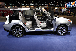 12 February 2015:  Subaru Forrester cutaway car demonstrating the EyeSight technology.<br /> <br /> First staged in 1901, the Chicago Auto Show is the largest auto show in North America and has been held more times than any other auto exposition on the continent. The 2015 show marks the 107th edition of the Chicago Auto Show. It has been  presented by the Chicago Automobile Trade Association (CATA) since 1935.  It is held at McCormick Place, Chicago Illinois