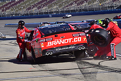 March 16, 2019 - Fontana, California, U.S. - FONTANA, CA - MARCH 16:  Justin Allgaier (7) BRANDT  Chevrolet on pit lane for tires and fuel  during  the NASCAR Xfinity Series  race on March 16, 2019 at Auto Club Speedway in Fontana, CA.  (Photo by Lyle Setter/Icon Sportswire) (Credit Image: © Lyle Setter/Icon SMI via ZUMA Press)