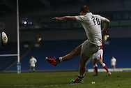 Rory Jennings (Bath Rugby) kicks during the 2015 Under 20s 6 Nations match between England and France at the American Express Community Stadium, Brighton and Hove, England on 20 March 2015.