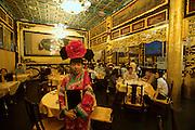 "Qiongdao (Jade Island) in Beihai Lake. Fangshan Imperial Food Restaurant. Waitresses dressed ""imperial style""."
