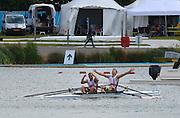 Eton Dorney, Windsor, Great Britain,..2012 London Olympic Regatta, Dorney Lake. Eton Rowing Centre, Berkshire.  Dorney Lake.  ..Men's Lightweight Doubles, medal ceremony, gold Medalist. DEN LM2X, Rasmus QUIST and Mads RASMUSSEN...12:28:04  Saturday  04/08/2012 [Mandatory Credit: Peter Spurrier/Intersport Images]