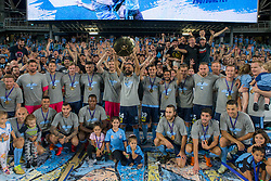 April 13, 2018 - Sydney, NSW, U.S. - SYDNEY, NSW - APRIL 13: Sydney FC lift the Premiers plate in front of the cove at the A-League Soccer Match between Sydney FC and Melbourne Victory on April 13, 2018 at Allianz Stadium in Sydney, Australia. (Photo by Speed Media/Icon Sportswire) (Credit Image: © Speed Media/Icon SMI via ZUMA Press)