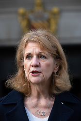 © Licensed to London News Pictures. 15/10/2020. Manchester, UK. Deputy Mayor Bev Hughes at a press conference in front of Manchester Central Library in St Peter's Square , central Manchester , as negotiations continue regarding placing the city on a Tier 3 lockdown, closing pubs and limiting the ways in which households can mix, in order to reduce the spread of Coronavirus . Photo credit: Joel Goodman/LNP