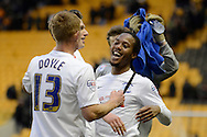 Preston players celebrate win during the Sky Bet Championship match between Wolverhampton Wanderers and Preston North End at Molineux, Wolverhampton, England on 13 February 2016. Photo by Alan Franklin.