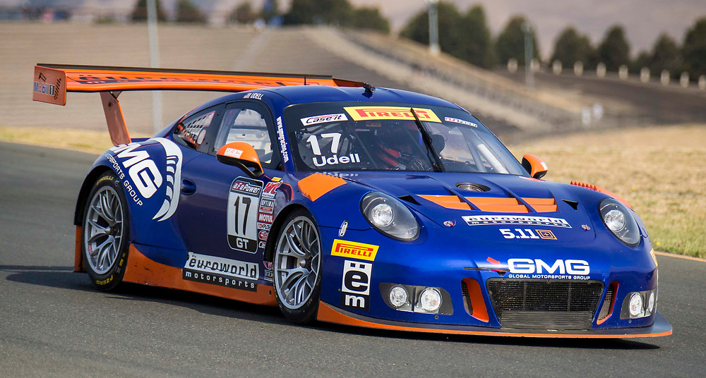 SEPT 16, 2017 Sonoma, CA, U.S.A : # 17 Alex Udell qualifying time 1:32.697 coming out of turn 5  during the GoPro Grand Prix of Sonoma World Challenge GT qualifying at Sonoma Raceway Sonoma, CA  Thurman James