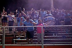 06 June 2015. New Orleans, Louisiana.<br /> National Premier Soccer League. NPSL. <br /> Chattanooga traveling fans celebrate their team's victory as the New Orleans Jesters take on Chattanooga FC in a Conference game at home in the Pan American Stadium. Chattanooga take a 4-0 victory over the Jesters.<br /> Photo; Charlie Varley/varleypix.com