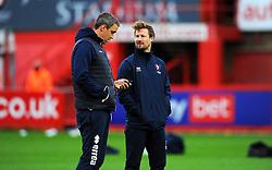 Cheltenham Town manager Michael Duff and Wade Elliot prior to kick-off - Mandatory by-line: Nizaam Jones/JMP - 21/11/2020 - FOOTBALL - Jonny-Rocks Stadium - Cheltenham, England - Cheltenham Town v Walsall - Sky Bet League Two