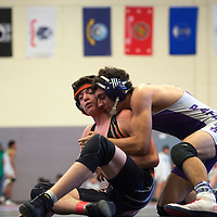 020715      Cayla Nimmo<br /> <br /> Miyamura Patriot Jeremiah Salaz wins his match against a Gallup Bengal in game held at Miyamura High School Saturday.