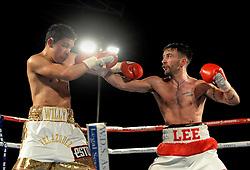 Lee Haskins lands a punch on Willy Velazquez. - Photo mandatory by-line: Alex James/JMP - Mobile: 07966 386802 - 02/12/2014 - SPORT - Boxing - Bristol - Bristol City academy - Lee Haskins v Willy Velazquez - Boxing