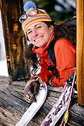 One woman skiing at Breckenridge, Colorado