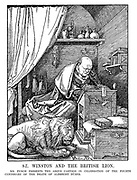 St Winston and the British Lion. Mr Punch presents the above cartoon in celebration of the fourth centenary of the death of Albrecht Durer. [The British Lion sleeps contently as Churchill writes his Budget for 1928]