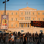 Riot police in front of the parliament inSyntagma  (Constitution) square  during the the protests in Athens against the  unpopular austerity measures, June 29, 2011