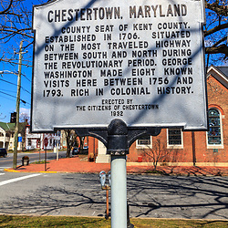 Chestertown, MD, USA - March 30, 2013:A historic marker in Chestertown is a town in Kent County, Maryland. It is the county seat.