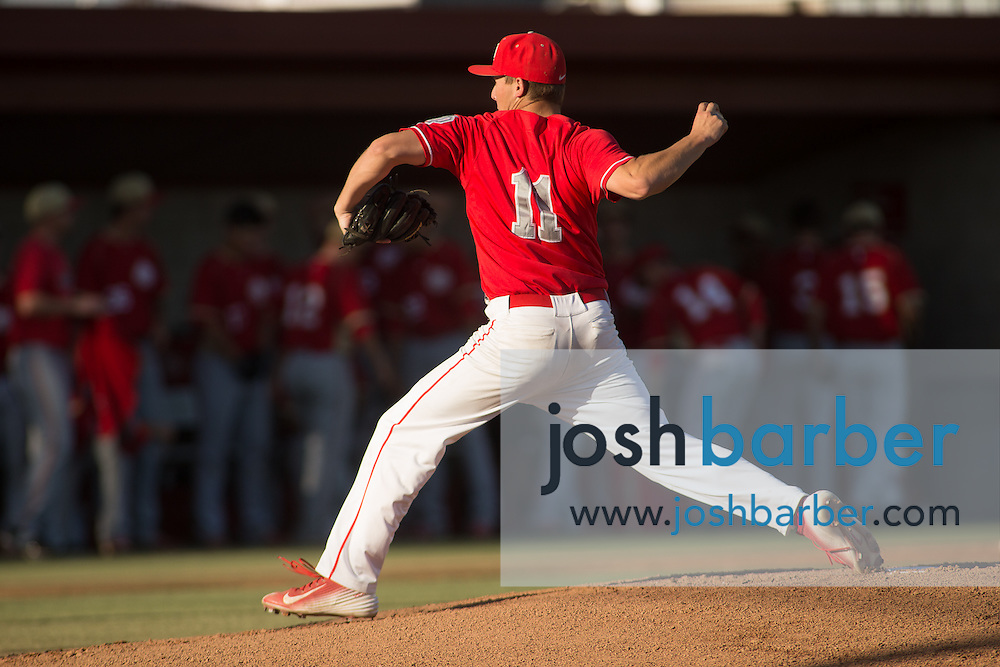 Mater Dei's Charlie Nies (11) pitching during a Trinity League game at Mater Dei High School on Friday, May 1, 2015 in Santa Ana, Calif. (Photo/Josh Barber)