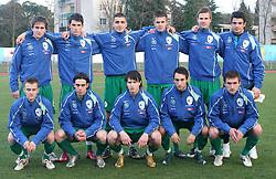 Team of Slovenia: 1st line from L: Rene Mihelic (10), Matija Skarabot (3), Etien Velikonja (11), Ales Majer (2), Armin Bacinovic (8); 2nd line form L: Nikola Tolimir (6), Vito Plut (9), Boris Mijatovic (5), Josip Ilicic (7), Gregor Balazic (4), Goalkeeper of Slovenia Jan Koprivec before Friendly match between U-21 National teams of Slovenia and Romania, on February 11, 2009, in Nova Gorica, Slovenia. (Photo by Vid Ponikvar / Sportida)