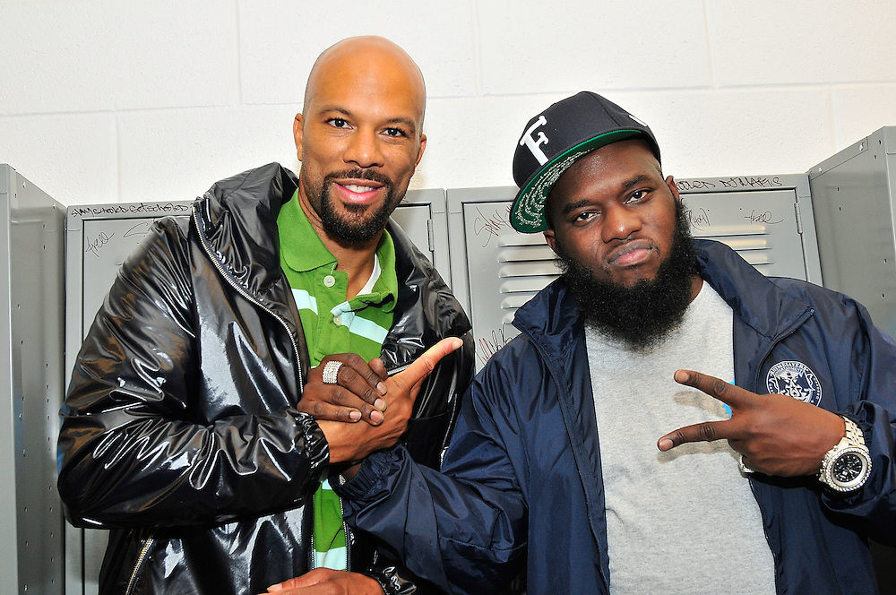 PHILADELPHIA - OCTOBER 01:  (L-R) Artists  Common and Freeway pose backstage at ÒThe Get Schooled National Challenge & TourÓ at Abraham Lincoln High School on October 1, 2010 in Philadelphia, Pennsylvania.  (Photo by Lisa Lake/Getty Images for The Get Schooled Foundation)
