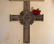 Village parish church Thorington, Suffolk, England, UK First World war grave wooden cross