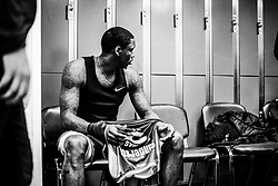 Fred Thomas of Bristol Flyers prepares in the changing room prior to tip off - Photo mandatory by-line: Ryan Hiscott/JMP - 26/01/2020 - BASKETBALL - Arena Birmingham - Birmingham, England - Bristol Flyers v Worcester Wolves - British Basketball League Cup Final