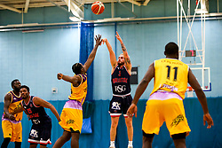 Jordan Nicholls of Bristol Flyers shoots - Photo mandatory by-line: Robbie Stephenson/JMP - 10/04/2019 - BASKETBALL - UEL Sports Dock - London, England - London Lions v Bristol Flyers - British Basketball League Championship