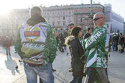 February 21, 2019 - Milano, Italia, Italia - Foto Carlo Cozzoli - LaPresse.21-02-19 Milano ( Italia ).Cronaca .Tifosi Austria Vienna in Piazza Duomo. (Credit Image: © Carlo Cozzoli/Lapresse via ZUMA Press)