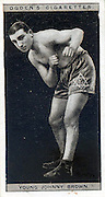 Amazing images of Britain's best boxers from the 1920's<br /> <br /> From the 1920s up until World War 2 cigarette companies, sporting magazines and boys' weeklies included real photo cards of sports stars to collect and swap. These photos of British boxers come from magazines like The Champion, The Magnet and Boy's Friend and cigarette companies such as Senior Service and Ogdens.<br /> <br /> Photo shows: Young Johnny Brown: Sometimes and probably wrongly described as the brother of Jackie Brown, Young Johnny Brown was born in Spitalfields in 1905 and fought as a flyweight and bantamweight between the 1920s and the 1930s. It is also stated in some record books that he won the British Featherweight belt off Johnny Cuthbert in1927 although others do not not consider the title was at stake.<br /> ©One mans treasure/Exclusivepix Media