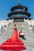 Beijing , China - September 24, 2014: Chinese couple posing in front of the Temple of Heaven Beijing China Beijing China