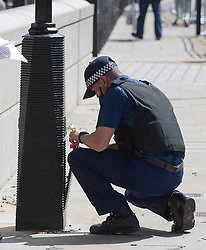 © licensed to London News Pictures. 23/05/2011. London, UK. Police search a lamp post to make it secure today (23/05/2011) in preparation  for the arrival of the U.S. president Barak Obama to the UK tomorrow. Photo credit should read: Ben Cawthra/LNP