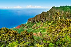 Kalalau Valley, the largest valley on Na Pali Coast, Kauai, Hawaii, USA, Pacific Ocean