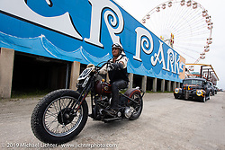 Thelma Domalewicz on her Harley-Davidson flathead racer leaving the beach after a day of racing on the beach at TROG (The Race Of Gentlemen) in Wildwood, NJ. USA. Saturday June 9, 2018. Photography ©2018 Michael Lichter.