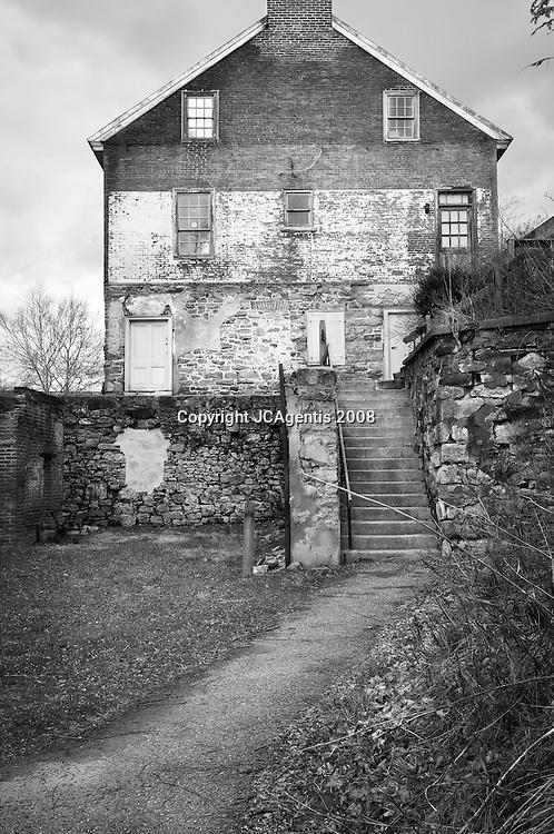 Black & White Image of Historic Luckenbach Mill Colonial Industrial Quarter Bethlehem Pennsylvania Lehigh Valley