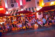 The Hosteria Romano Italian reataurant and sidewalk cafe on Miami Beach's Espanola Way at night