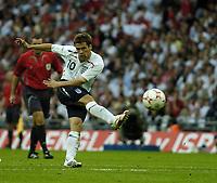 Photo: Jonathan Butler.<br /> England v Israel. UEFA European Championships Qualifying. 08/09/2007.<br /> Michael Owen of England scores.