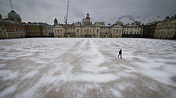 © Licensed to London News Pictures. 08/02/2021. London, UK. Snow drifts on Horse Guards parade in central London. Parts of the south of England are blanketed in snowfall for a second day. Photo credit: Peter Macdiarmid/LNP
