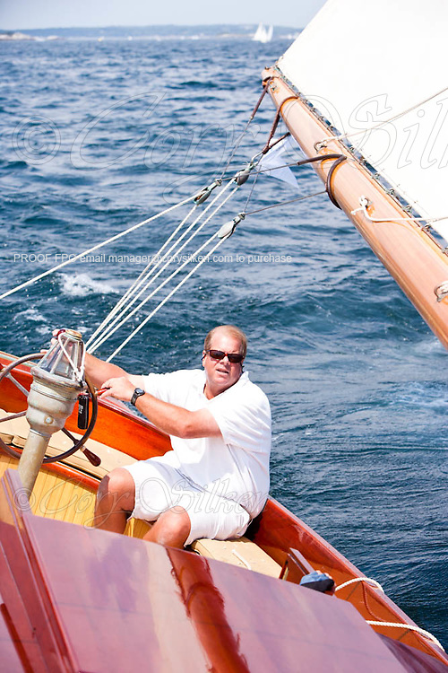 Sailing onboard Nellie, a Herreshoff 35 Foot Class, at the Corinthian Classic Yacht Regatta.