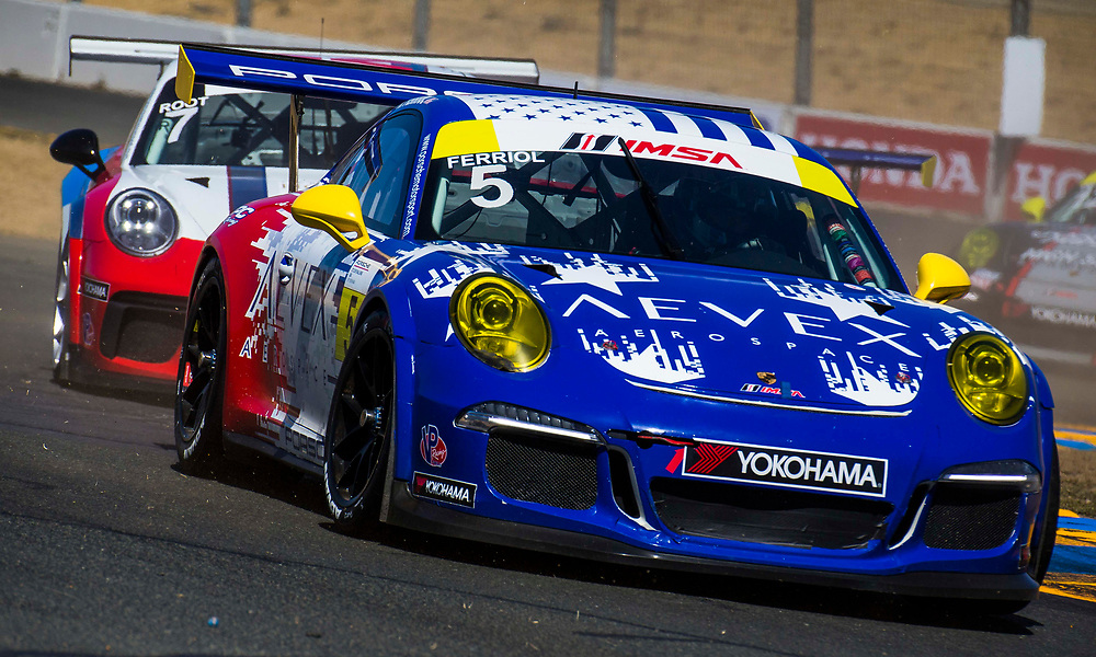 SEPT 16, 2018 Sonoma, CA, U.S.A : # 5 Rob Ferriol coming out turn 9  S curve during the GoPro Grand Prix of Sonoma Porsche GT3 Race 2 at Sonoma Raceway Sonoma, CA  Thurman James