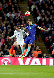Adam Lallana (L) of England vies with Joel Veltman of the Netherlands during the International Friendly Match between England and the Netherlands at Wembley Stadium in London, Britain, on March 29, 2016. England lost 1-2. EXPA Pictures © 2016, PhotoCredit: EXPA/ Photoshot/ Han Yan<br /> <br /> *****ATTENTION - for AUT, SLO, CRO, SRB, BIH, MAZ, SUI only*****