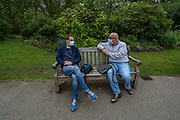People wearing Face Protective Masks are seen enjoying their afternoon at St James' Park in London, Britain, on Sunday, May 3, 2020. Britons are now in their sixth week of lockdown due to the Coronavirus pandemic. Countries around the world are taking increased measures to stem the widespread of the SARS-CoV-2 coronavirus which causes the Covid-19 disease. (Photo/ Vudi Xhymshiti)