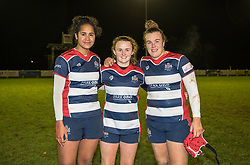 Lagi Tuima, Cat McNaney and Carys Phillips of Bristol Ladies  - Mandatory by-line: Paul Knight/JMP - 16/12/2017 - RUGBY - Cleve RFC - Bristol, England - Bristol Ladies v Worcester Valkyries - Tyrrells Premier 15s