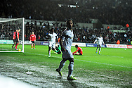 Swansea city's Wayne Routledge celebrates after he scores his sides 1st goal.  Barclays Premier league, Swansea city v Cardiff city match at the Liberty Stadium in Swansea, South Wales on Saturday 8th Feb 2014.<br /> pic by Andrew Orchard, Andrew Orchard sports photography.